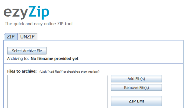 How to zip/unzip archive online without installing any archive