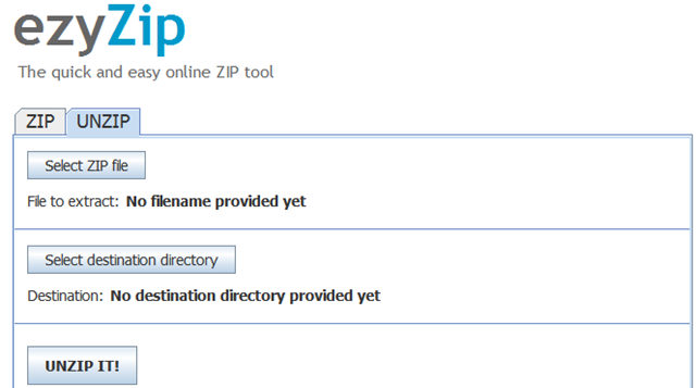 How to zip/unzip archive online without installing any