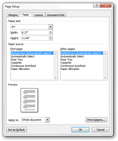 How to create a new word document file in A4 size as default ...