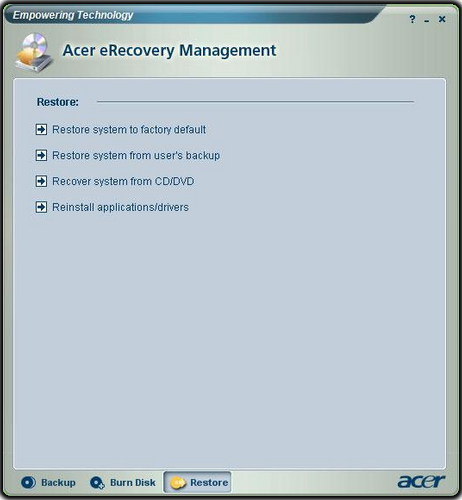 Acer - where are automatic backup/recovery files?